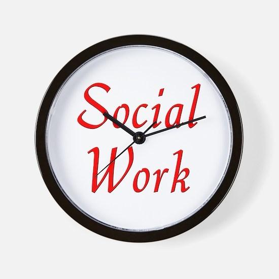 Social Work (red) Wall Clock