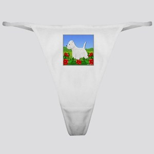 Westie Among the Flowers Classic Thong