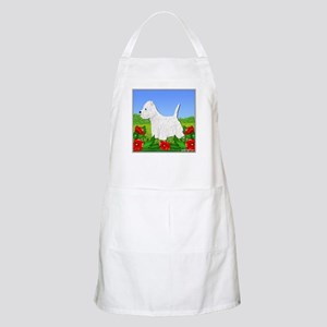 Westie Among the Flowers BBQ Apron