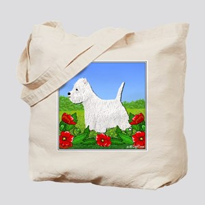 Westie Among the Flowers Tote Bag