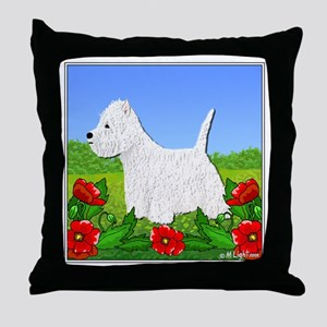 Westie Among the Flowers Throw Pillow