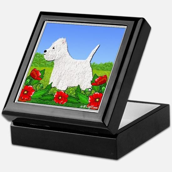Westie Among the Flowers Keepsake Box