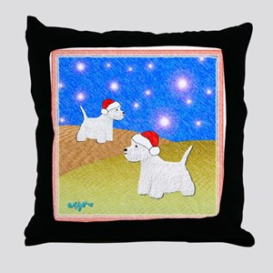 """Christmas Westies"" Throw Pillow"