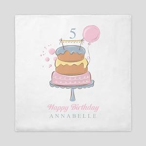 Happy Birthday Cake Personalized Queen Duvet