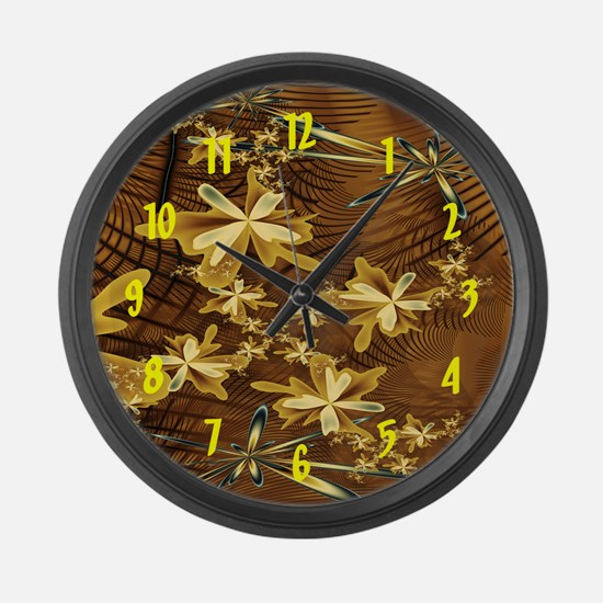 Abstract Flower Trappings Large Wall Clock