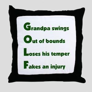 Grandpa Golf 2 Throw Pillow