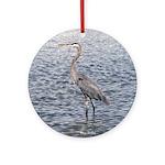 Blue Heron Water Round Ornament