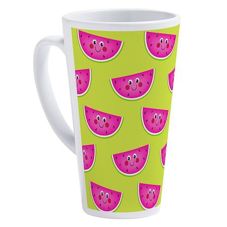 Cute Pink Watermelons on Lime 17 oz Latte Mug