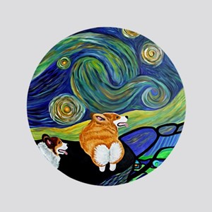 "Corgi Starry Starry Night 3.5"" Button"