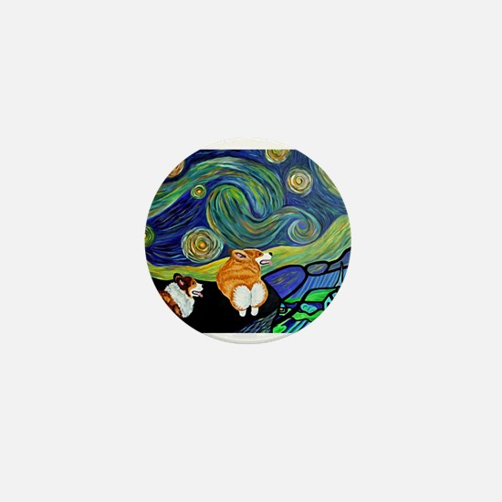 Corgi Starry Starry Night Mini Button