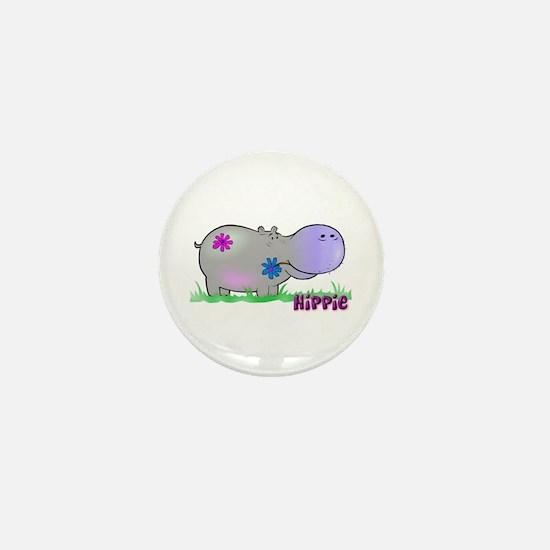 Hippie Hippo Mini Button
