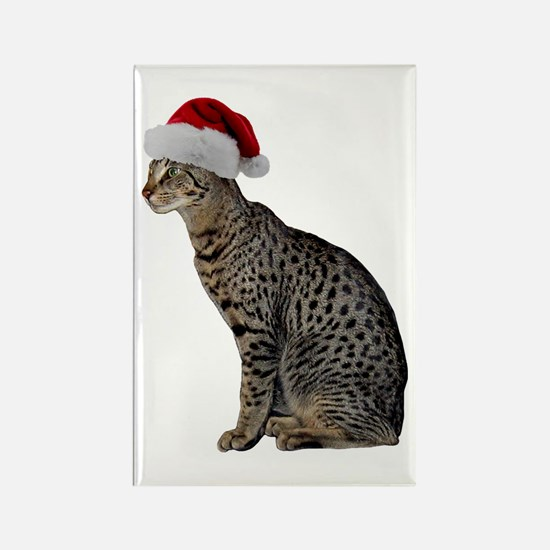 Savannah Cat Christmas Rectangle Magnet