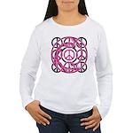 Pink Peace Symbols Women's Long Sleeve T-Shirt