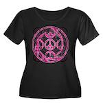 Pink Peace Symbols Women's Plus Size Scoop Neck Da