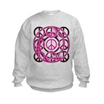 Pink Peace Symbols Kids Sweatshirt