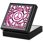 Pink Peace Symbols Keepsake Box