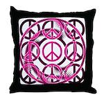 Pink Peace Symbols Throw Pillow