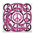 Pink Peace Symbols Tile Coaster