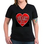 Have A Heart Give Blood Women's V-Neck Dark T-Shir