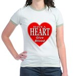 Have A Heart Give Blood Jr. Ringer T-Shirt