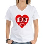 Have A Heart Give Blood Women's V-Neck T-Shirt