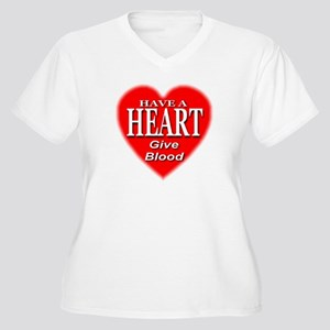 Have A Heart Give Blood Women's Plus Size V-Neck T