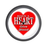Have A Heart Give Blood Wall Clock