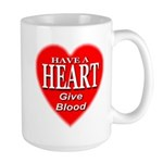 Have A Heart Give Blood Large Mug