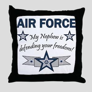 Air Force Nephew Defending Throw Pillow