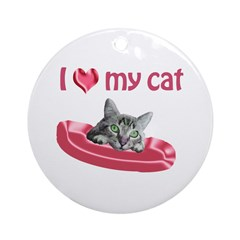 I Love My Cat Ornament (Round)