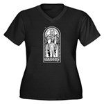 YAYOBS Women's Plus Size V-Neck Dark T-Shirt