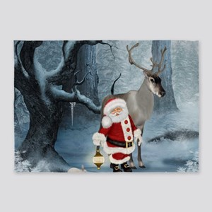 Santa Claus with reindeer in the forest 5'x7'Area