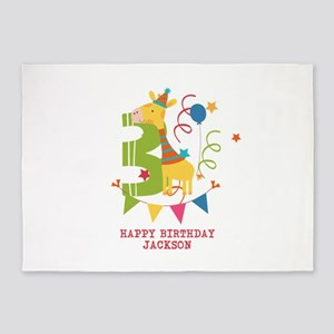 Happy 3rd Birthday Personalized 5'x7'Area Rug