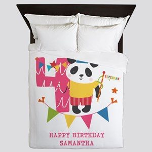 Happy 4th Birthday Personalized Queen Duvet
