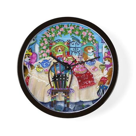 Corgi Tea In The Rose Garden Wall Clock