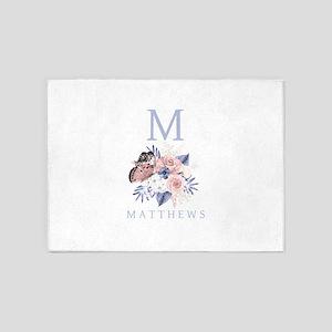 Dusty Blue Floral Monogram 5'x7'Area Rug