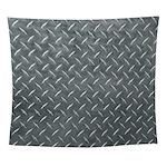 Gray Diamond Plate Pattern Wall Tapestry
