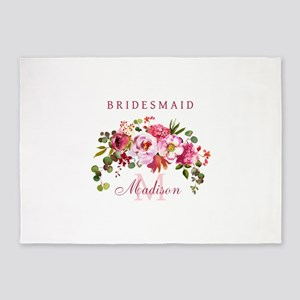 Eucalyptus Bridesmaid Monogram 5'x7'Area Rug