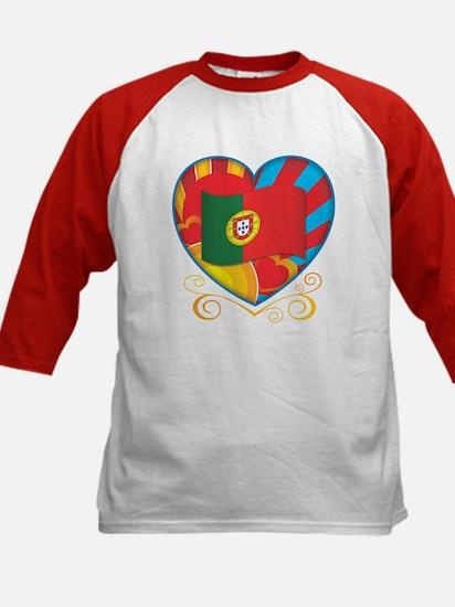 Portugese Heart Kids Baseball Jersey