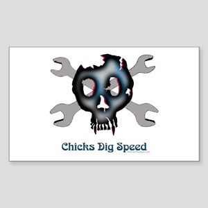 Chicks dig speed Rectangle Sticker