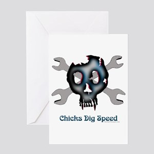 Chicks dig speed Greeting Card