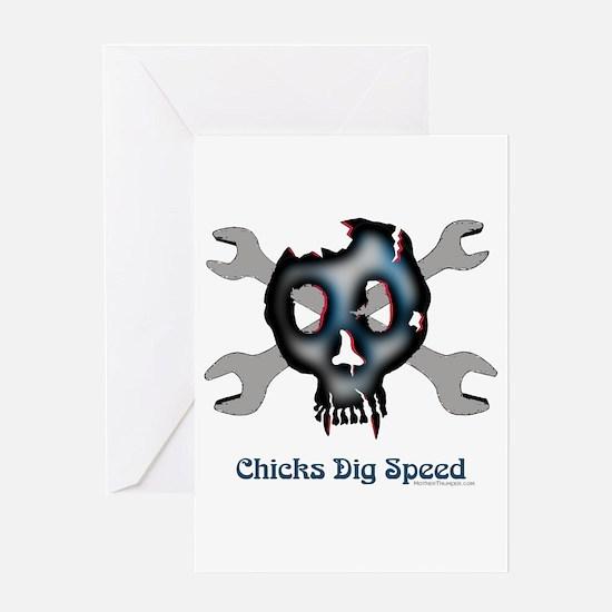 Chicks dig speed Greeting Card
