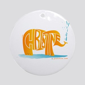Christine (Orange Elephant 1) Ornament (Round)