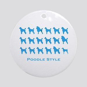 Poodle Style: Blue Ornament (Round)
