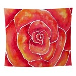 Red Orange Rose Watercolor Wall Tapestry