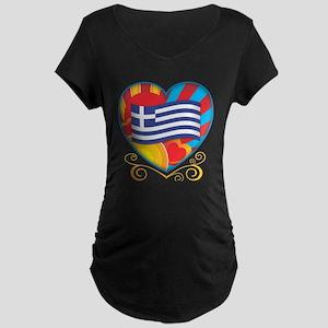Greek Heart Maternity Dark T-Shirt