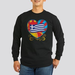 Greek Heart Long Sleeve Dark T-Shirt
