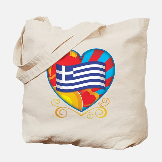 Greek Heart Tote Bag