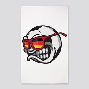 Germany Angry Soccer Ball with Sunglasses Area Rug