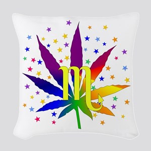 Rainbow Marijuana Scorpio Woven Throw Pillow